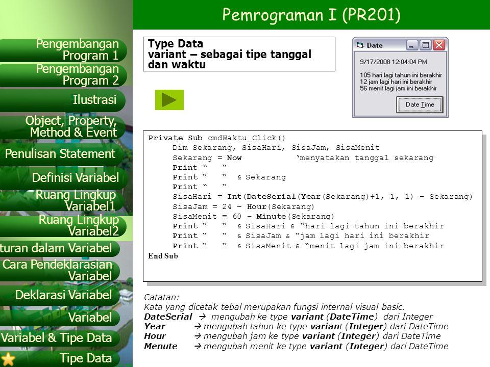 Type Data variant – sebagai tipe tanggal dan waktu