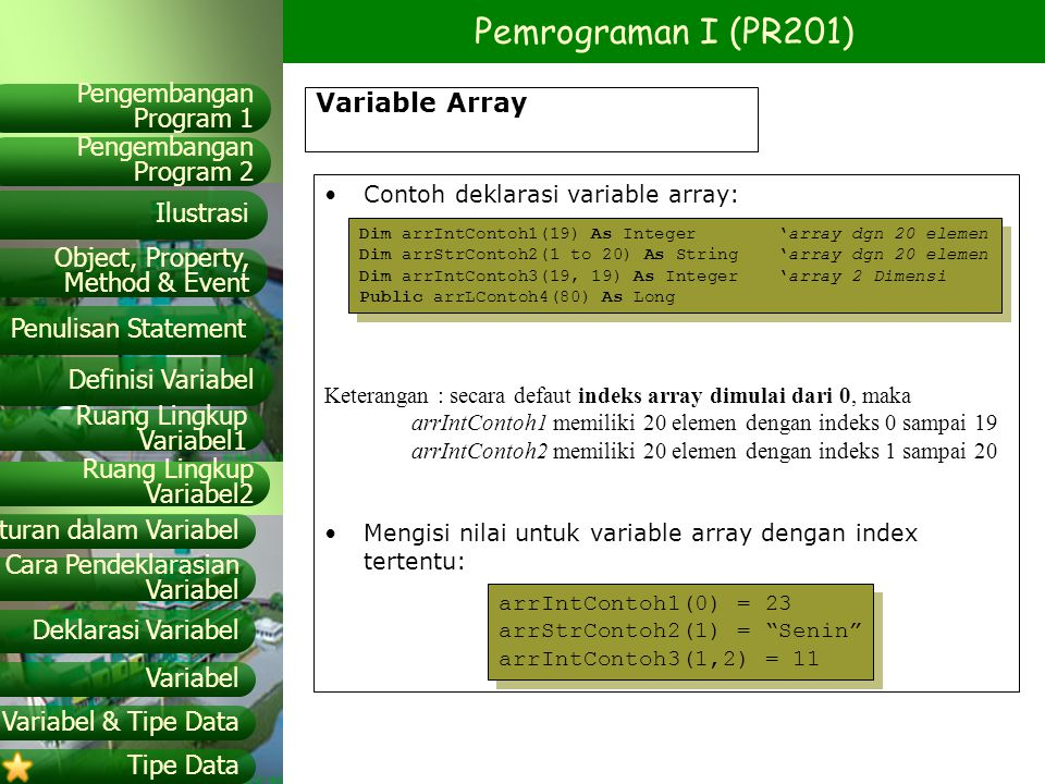 Variable Array Contoh deklarasi variable array: