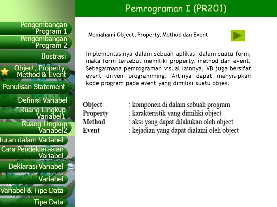 Memahami Object, Property, Method dan Event
