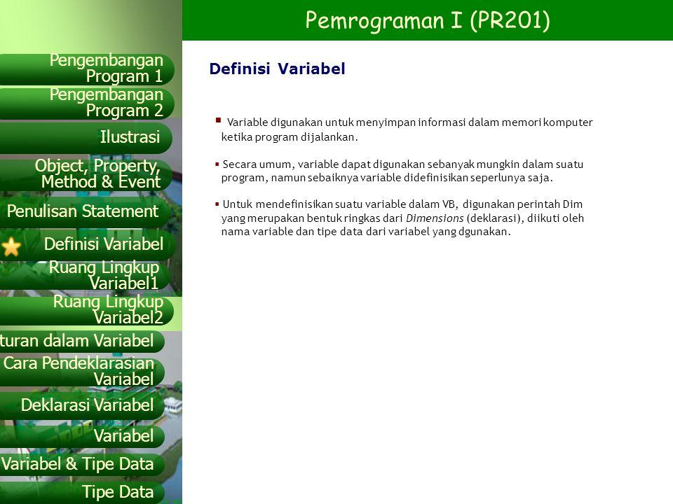 Variable digunakan untuk menyimpan informasi dalam memori komputer