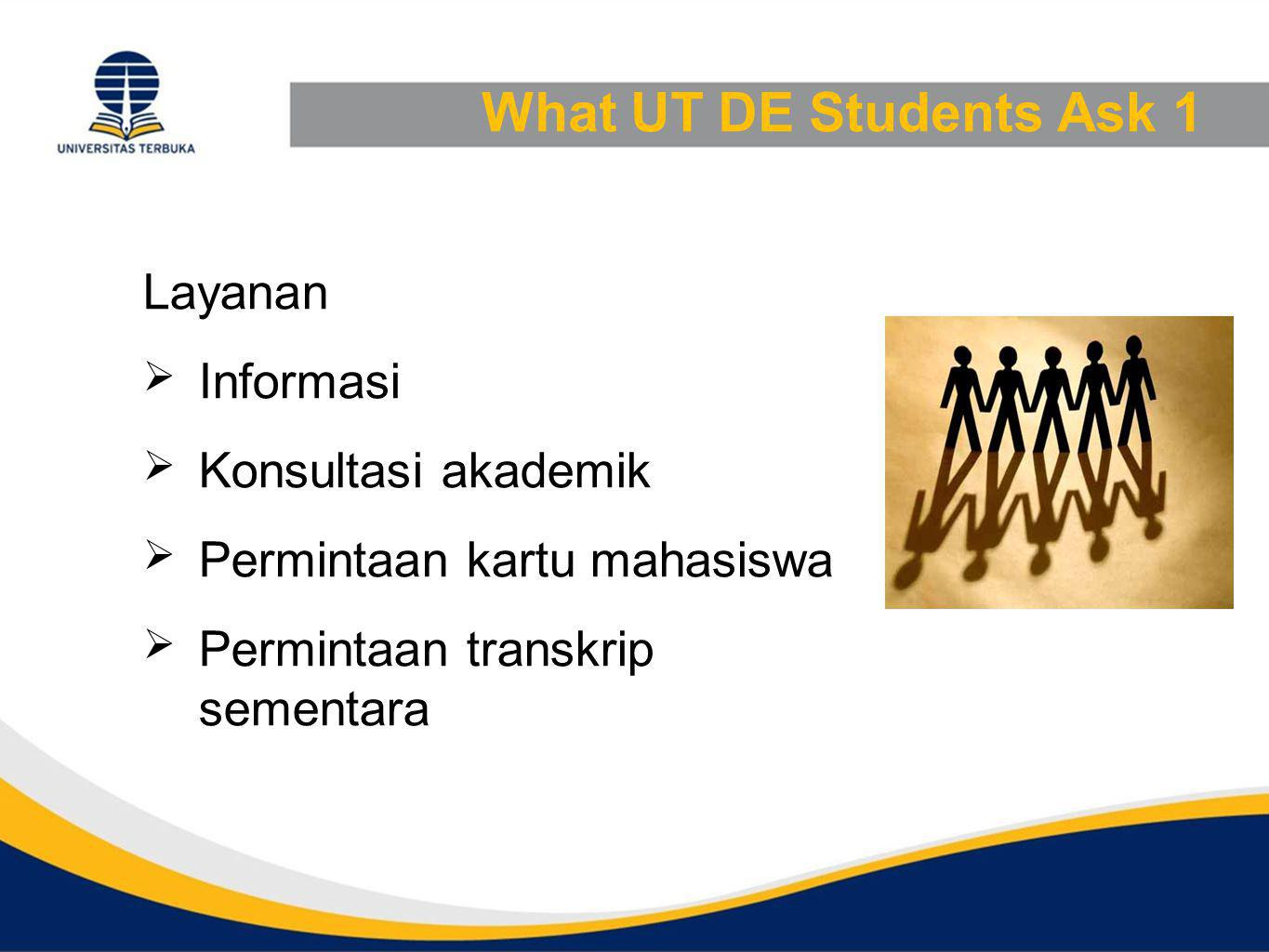 What UT DE Students Ask 1 Layanan Informasi Konsultasi akademik