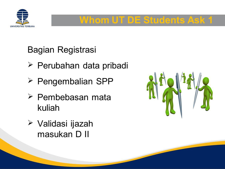 Whom UT DE Students Ask 1 Bagian Registrasi Perubahan data pribadi