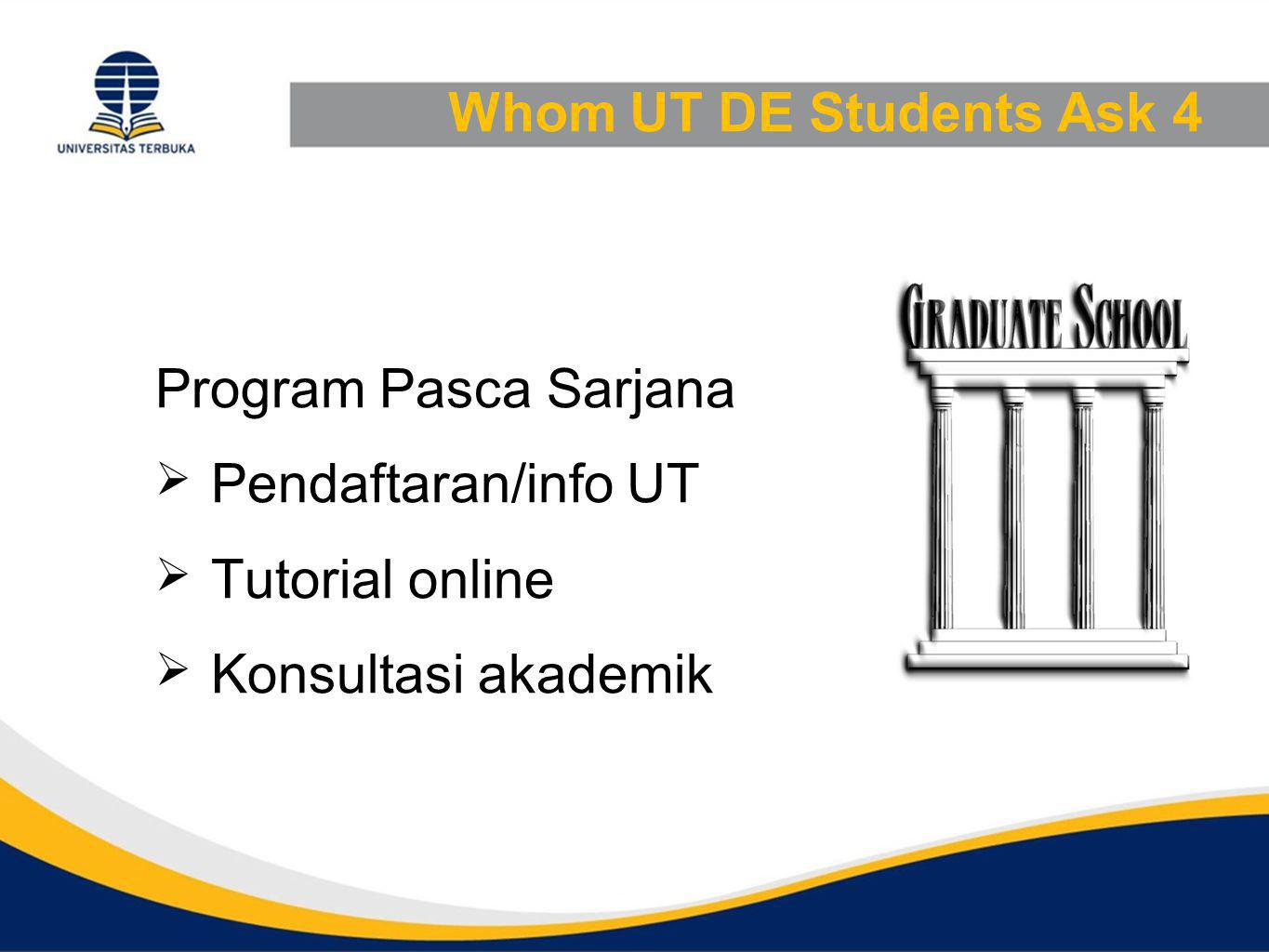 Whom UT DE Students Ask 4 Program Pasca Sarjana. Pendaftaran/info UT.