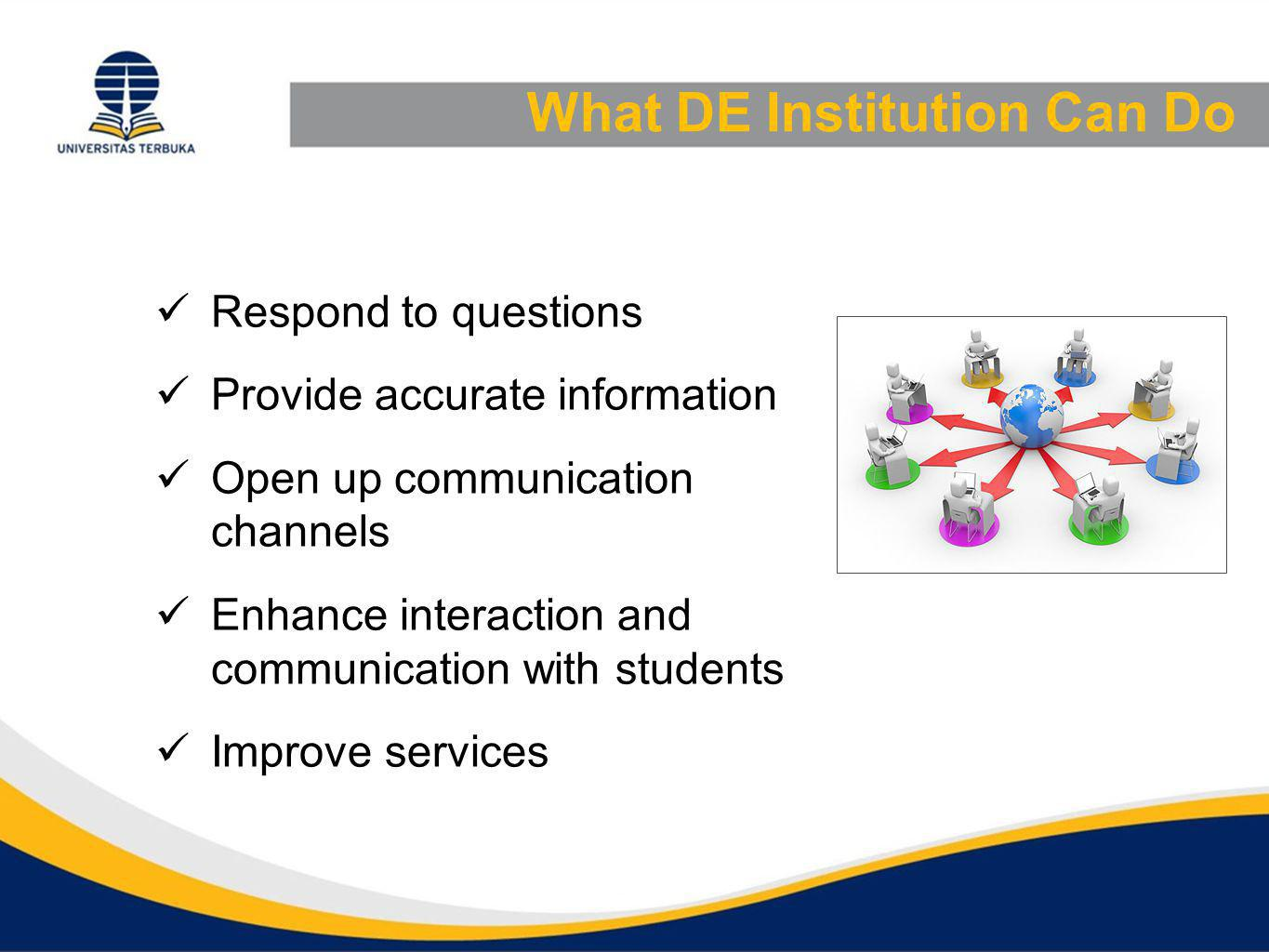 What DE Institution Can Do