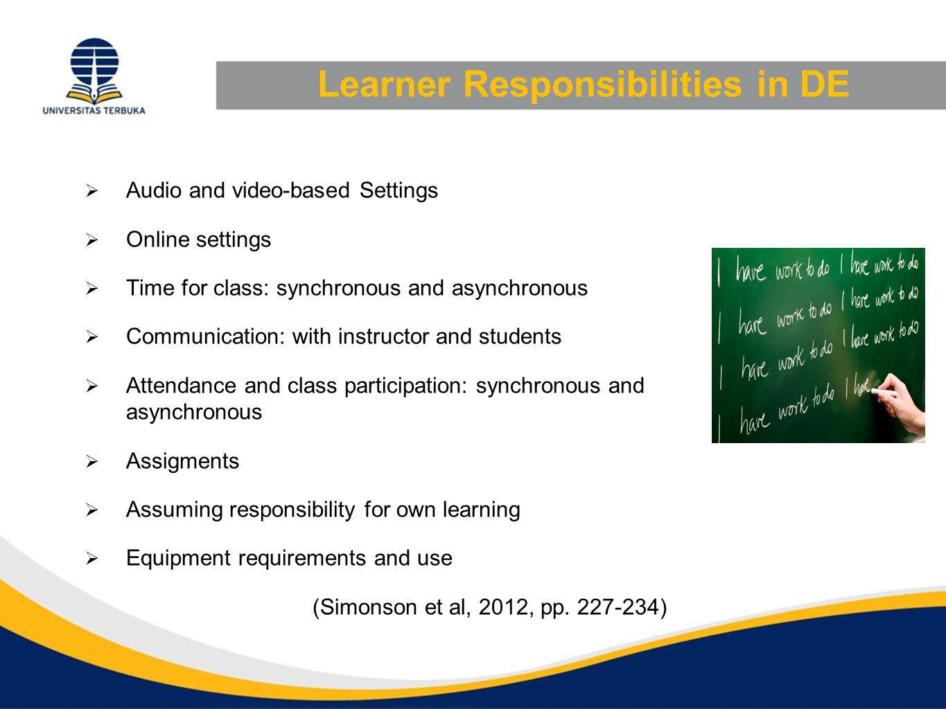 Learner Responsibilities in DE