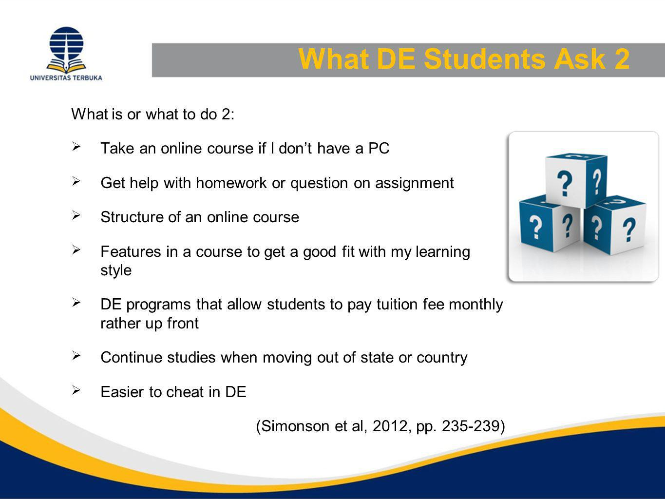 What DE Students Ask 2 What is or what to do 2: