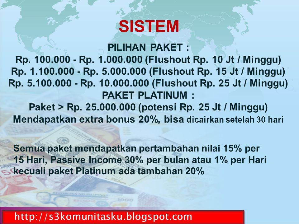 SISTEM PILIHAN PAKET : Rp. 100.000 - Rp. 1.000.000 (Flushout Rp. 10 Jt / Minggu) Rp. 1.100.000 - Rp. 5.000.000 (Flushout Rp. 15 Jt / Minggu)