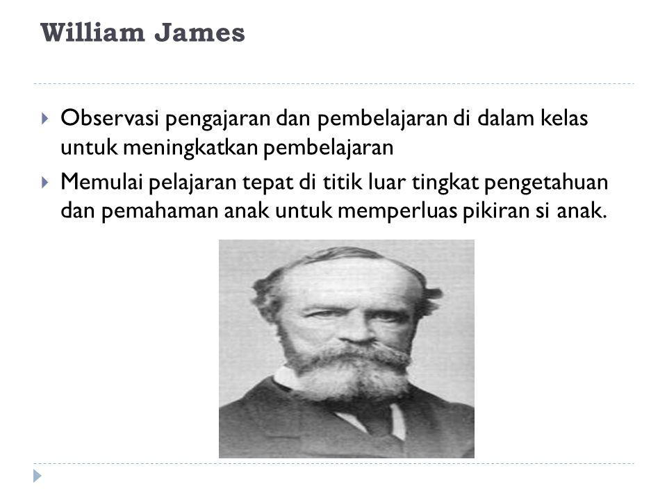 William James Observasi pengajaran dan pembelajaran di dalam kelas untuk meningkatkan pembelajaran.