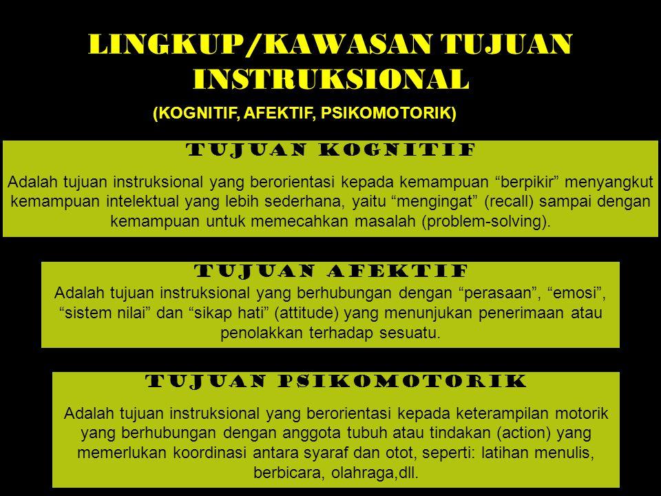 LINGKUP/KAWASAN TUJUAN INSTRUKSIONAL