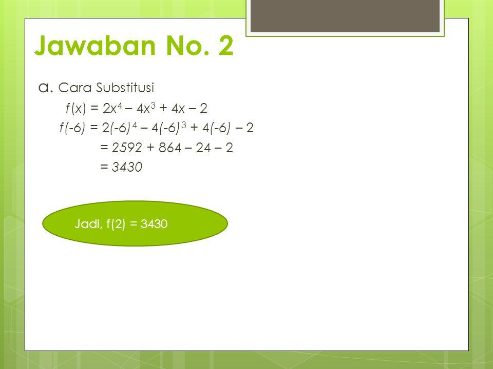 Jawaban No. 2 a. Cara Substitusi f(x) = 2x4 – 4x3 + 4x – 2