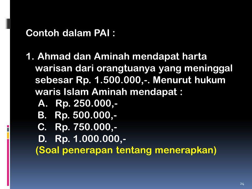 Contoh dalam PAI :