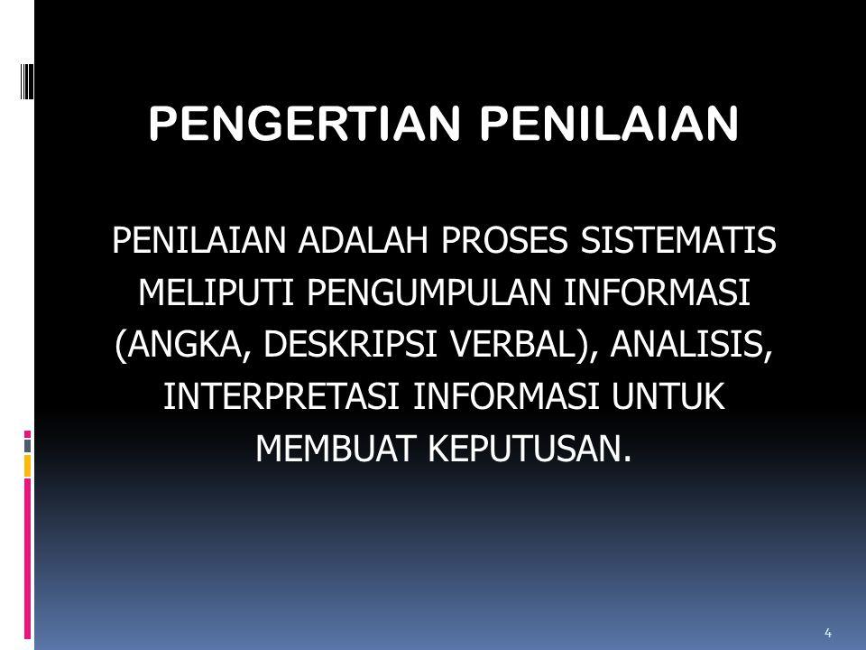 PENGERTIAN PENILAIAN