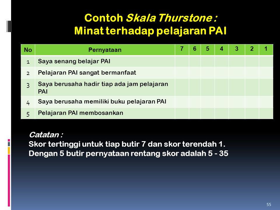 Contoh Skala Thurstone : Minat terhadap pelajaran PAI