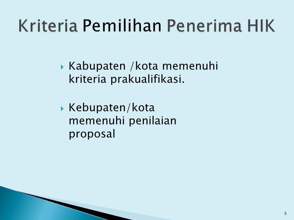 Kriteria Pemilihan Penerima HIK