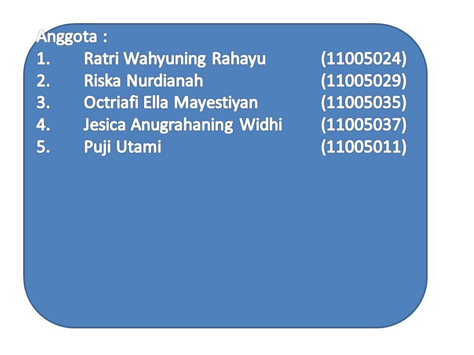 Anggota : 1. Ratri Wahyuning Rahayu. (11005024) 2. Riska Nurdianah