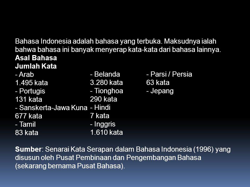 Bahasa Indonesia adalah bahasa yang terbuka