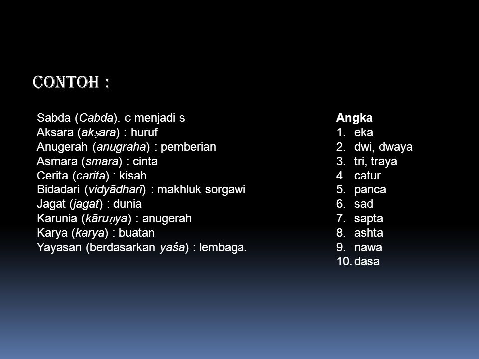 CONTOH : Sabda (Cabda). c menjadi s Aksara (akṣara) : huruf