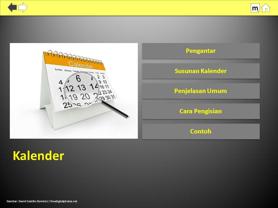 Kalender m Pengantar Susunan Kalender Penjelasan Umum Cara Pengisian