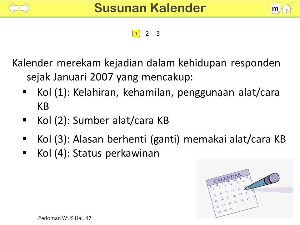 Susunan Kalender m. SDKI 2012. 100% 1. 2. 3. Kalender merekam kejadian dalam kehidupan responden sejak Januari 2007 yang mencakup: