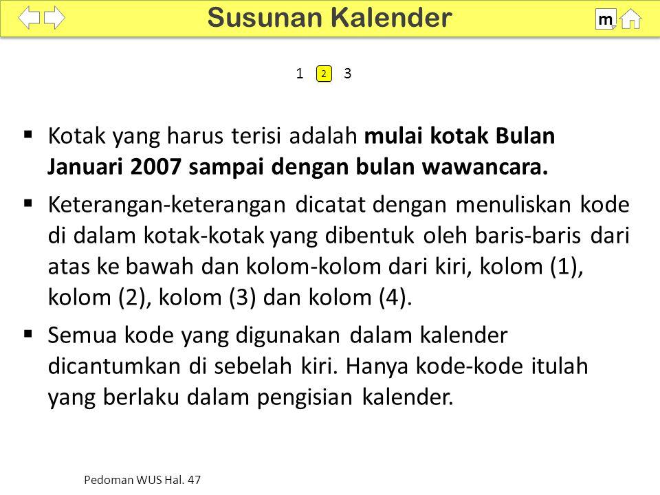 Susunan Kalender m. SDKI 2012. 100% 1. 2. 3. Kotak yang harus terisi adalah mulai kotak Bulan Januari 2007 sampai dengan bulan wawancara.