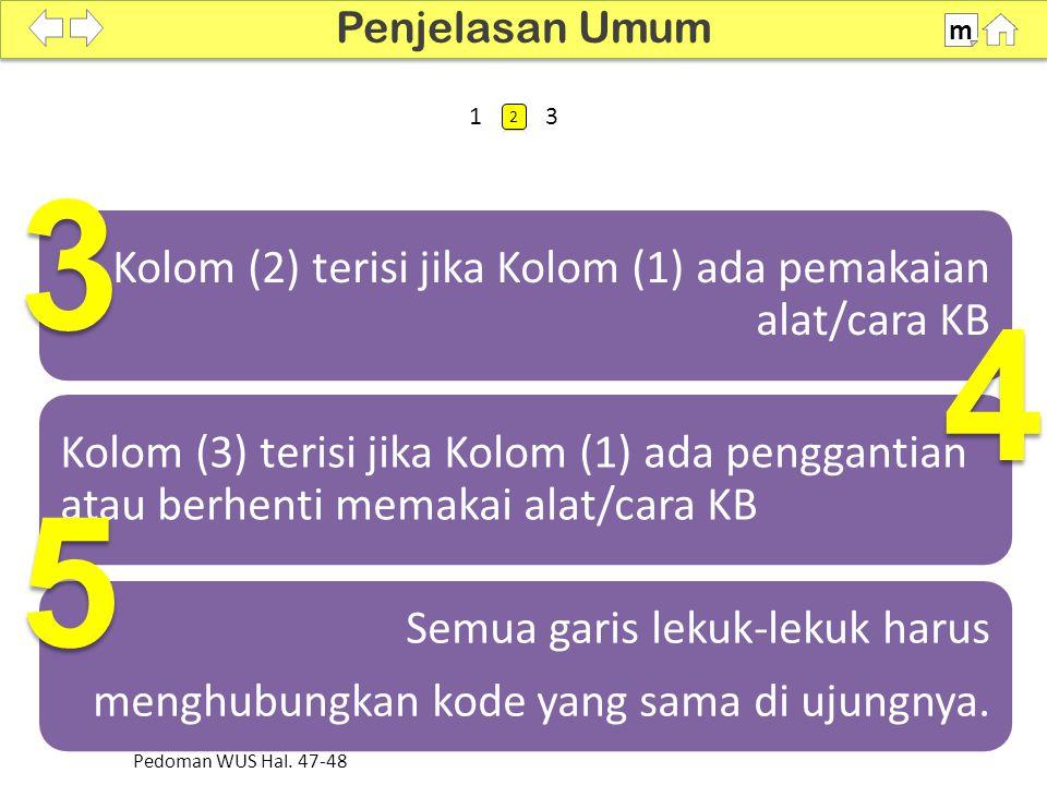 3 4 5 Kolom (2) terisi jika Kolom (1) ada pemakaian alat/cara KB