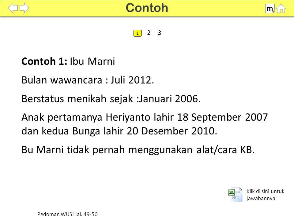 Contoh Contoh 1: Ibu Marni Bulan wawancara : Juli 2012.