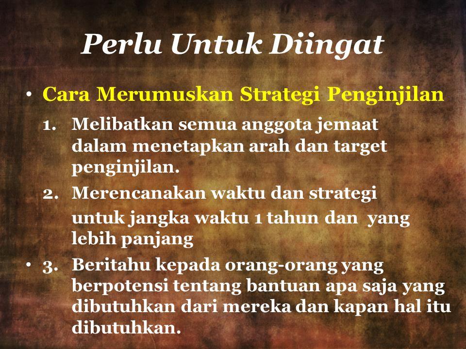 Perlu Untuk Diingat Cara Merumuskan Strategi Penginjilan