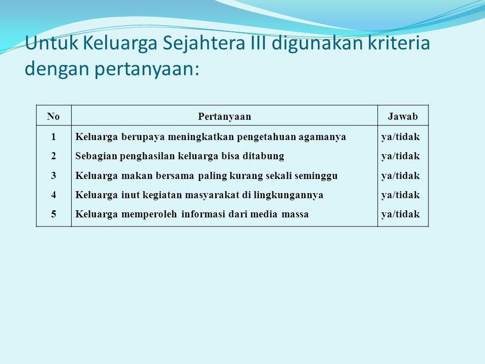 Untuk Keluarga Sejahtera III digunakan kriteria dengan pertanyaan: