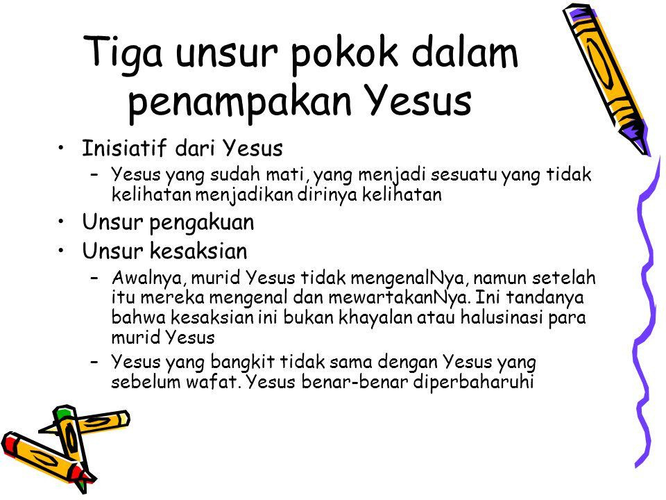 Tiga unsur pokok dalam penampakan Yesus