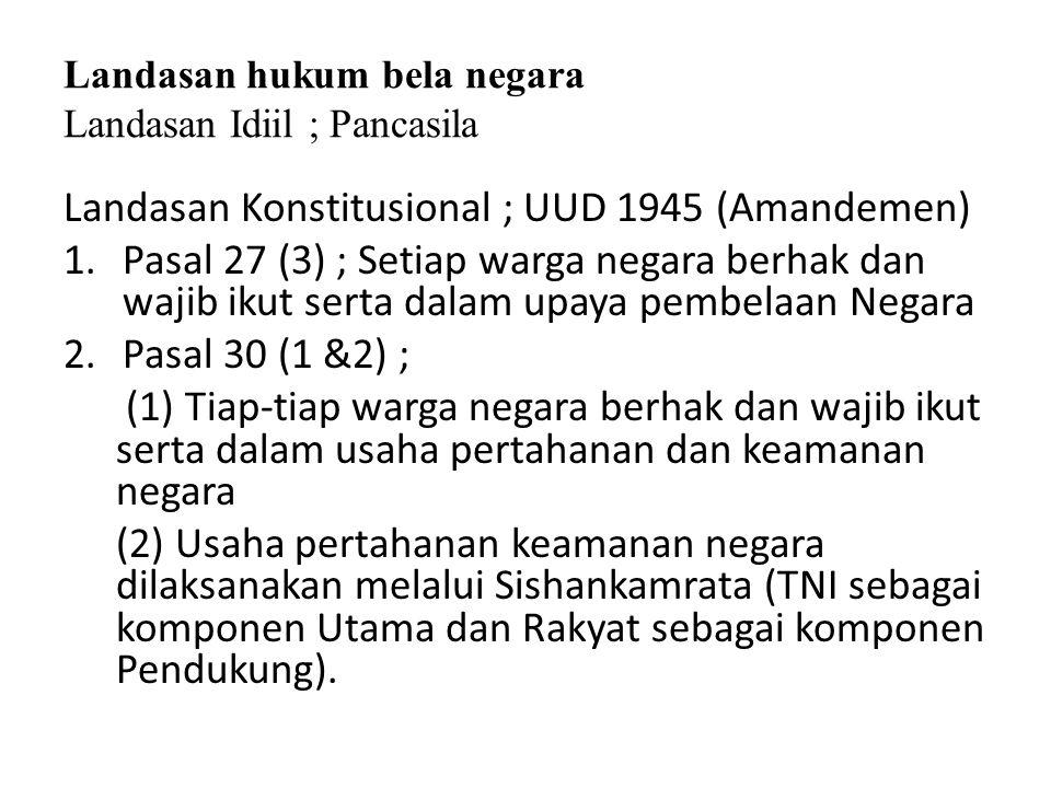 Landasan hukum bela negara Landasan Idiil ; Pancasila