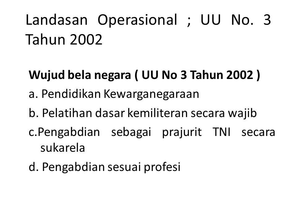 Landasan Operasional ; UU No. 3 Tahun 2002