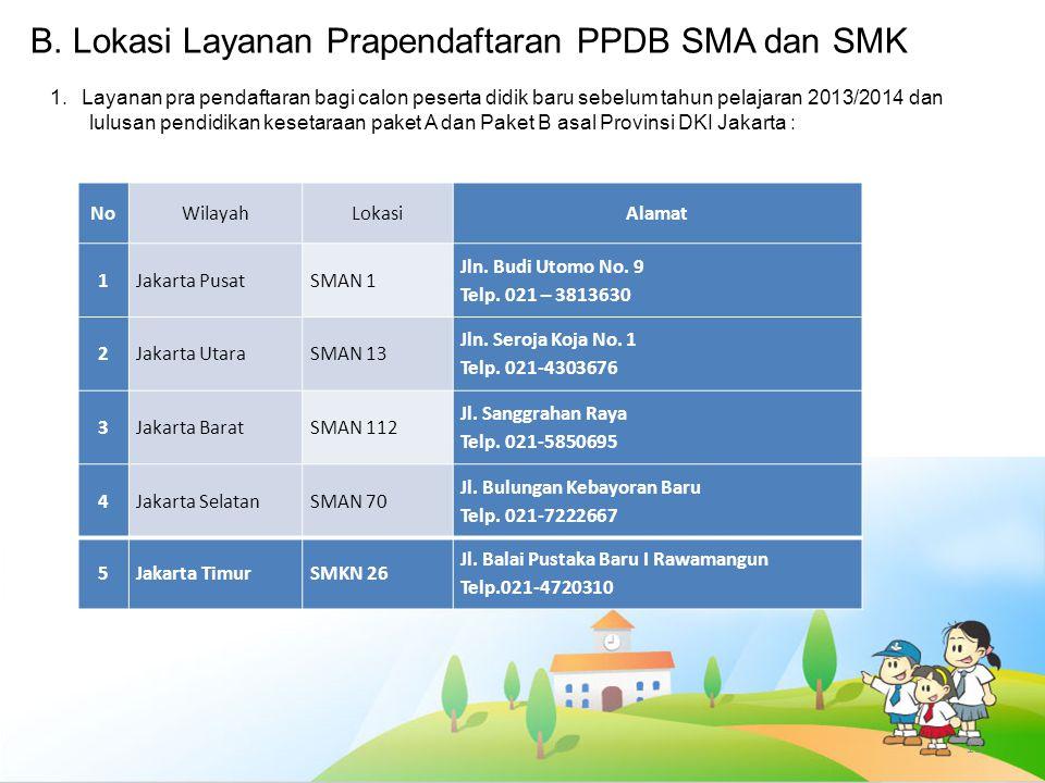 B. Lokasi Layanan Prapendaftaran PPDB SMA dan SMK