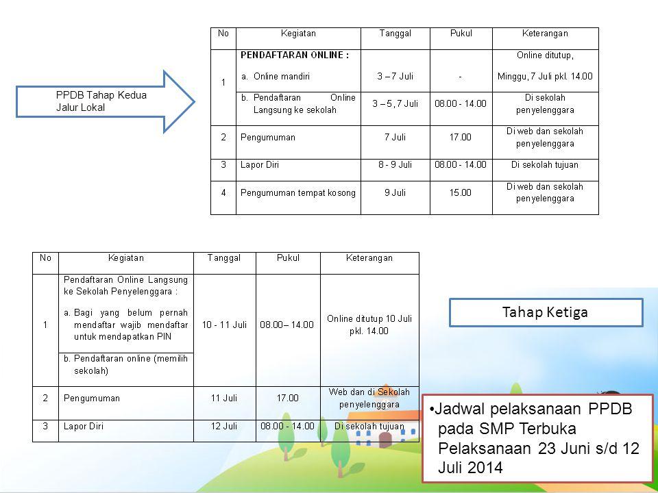 Jadwal pelaksanaan PPDB pada SMP Terbuka Juli 2014