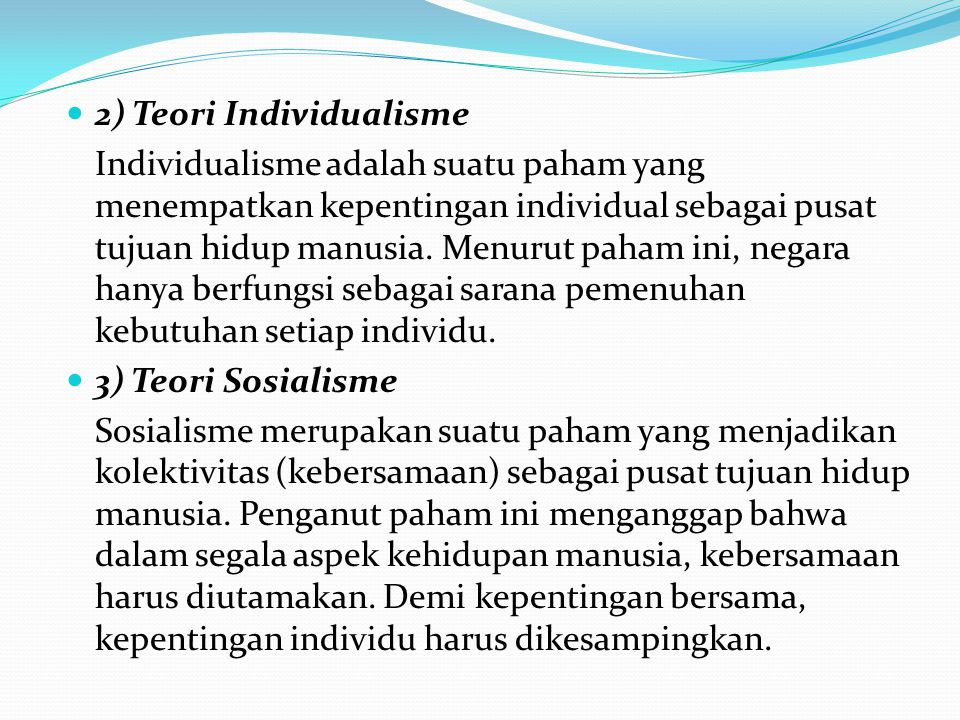 2) Teori Individualisme