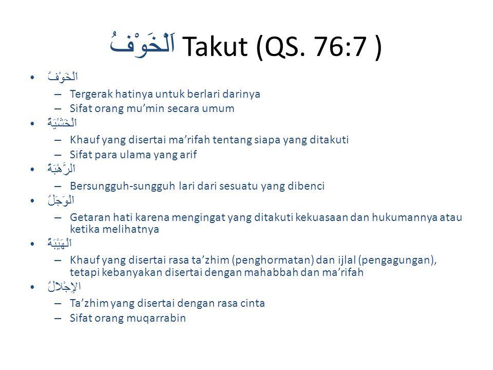 اَلْخَوْفُ Takut (QS. 76:7 )