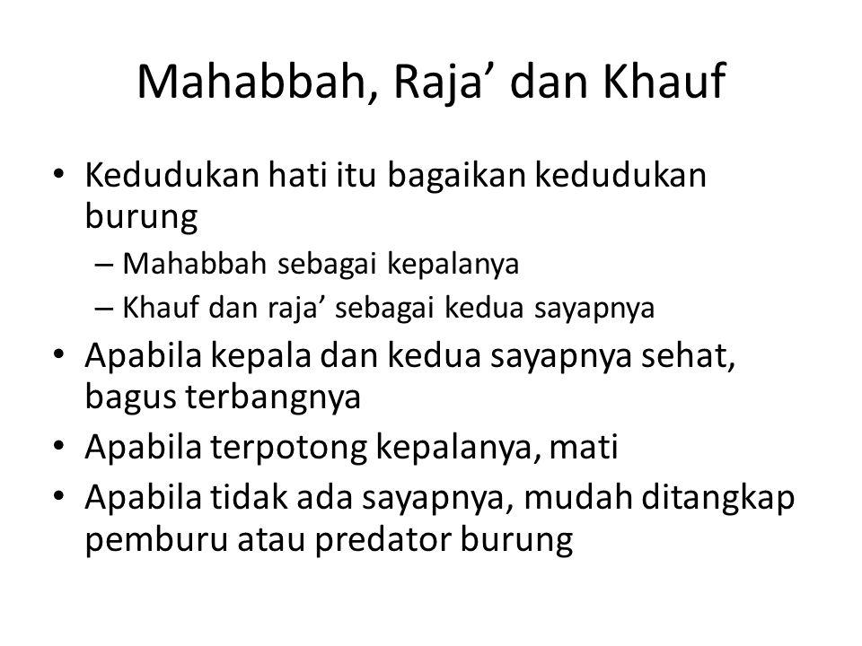 Mahabbah, Raja' dan Khauf