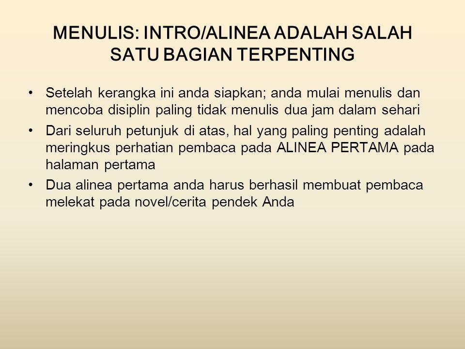 MENULIS: INTRO/ALINEA ADALAH SALAH SATU BAGIAN TERPENTING