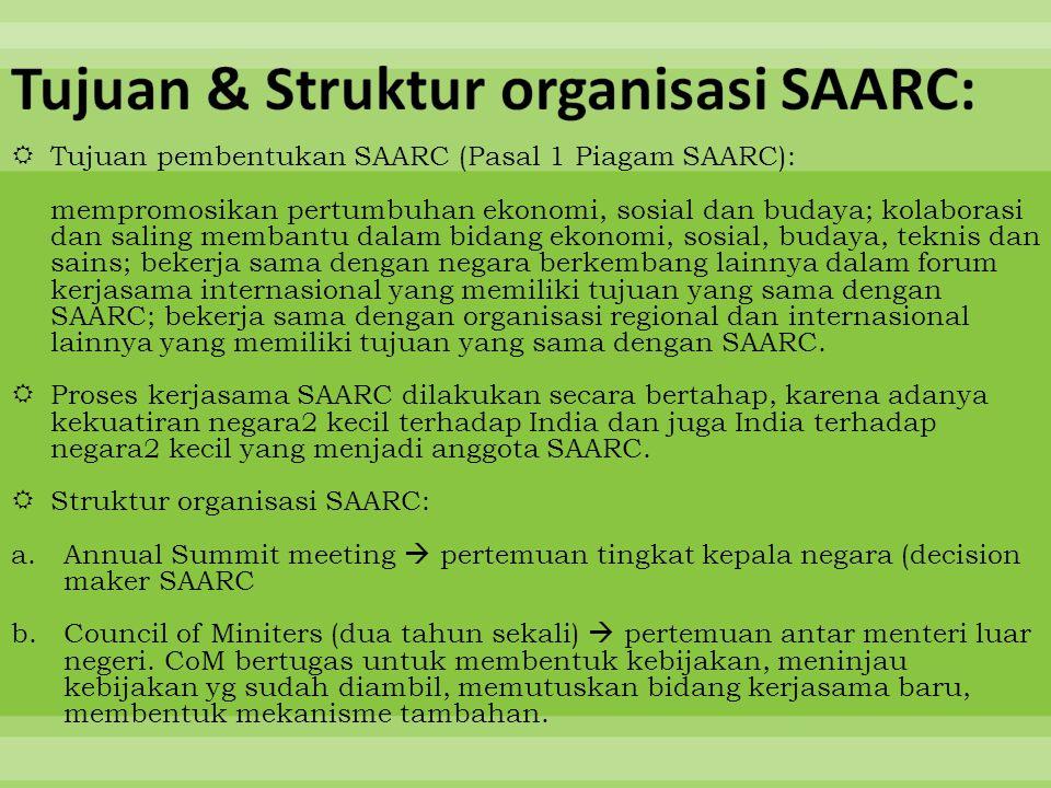 Tujuan & Struktur organisasi SAARC: