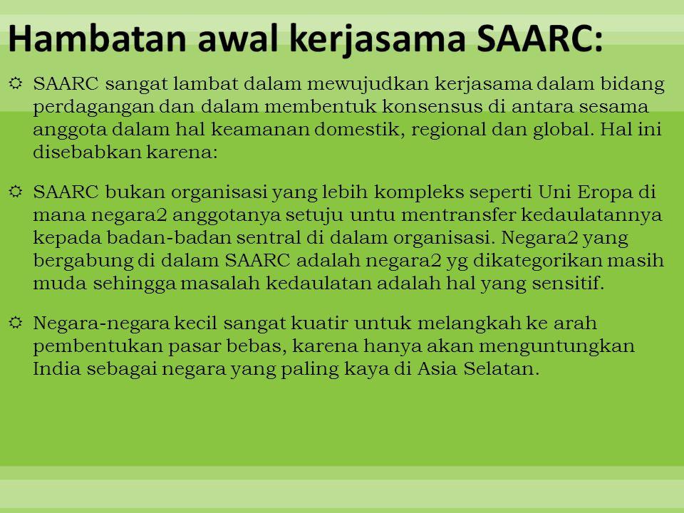Hambatan awal kerjasama SAARC: