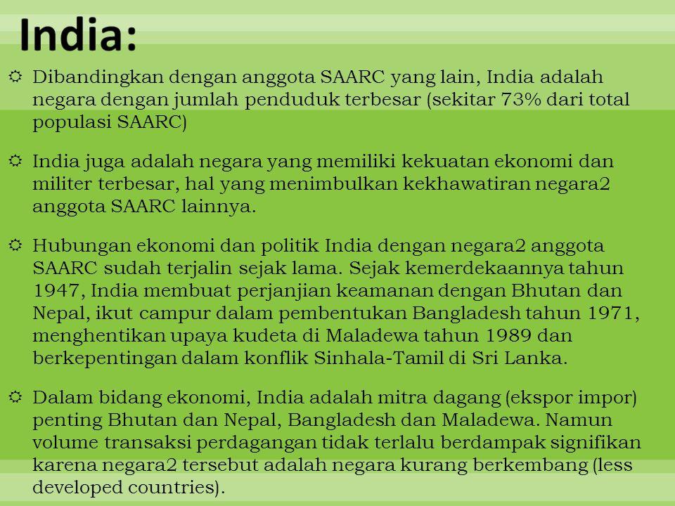 India: Dibandingkan dengan anggota SAARC yang lain, India adalah negara dengan jumlah penduduk terbesar (sekitar 73% dari total populasi SAARC)