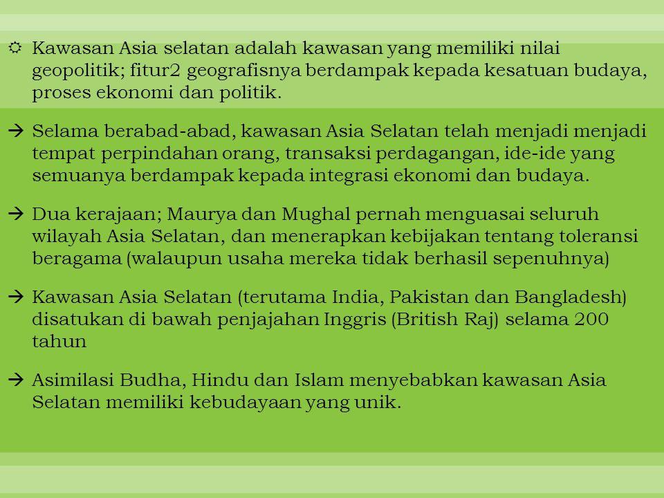 Kawasan Asia selatan adalah kawasan yang memiliki nilai geopolitik; fitur2 geografisnya berdampak kepada kesatuan budaya, proses ekonomi dan politik.