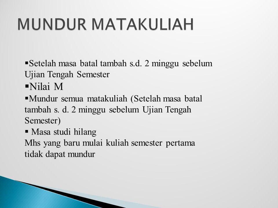 MUNDUR MATAKULIAH Nilai M