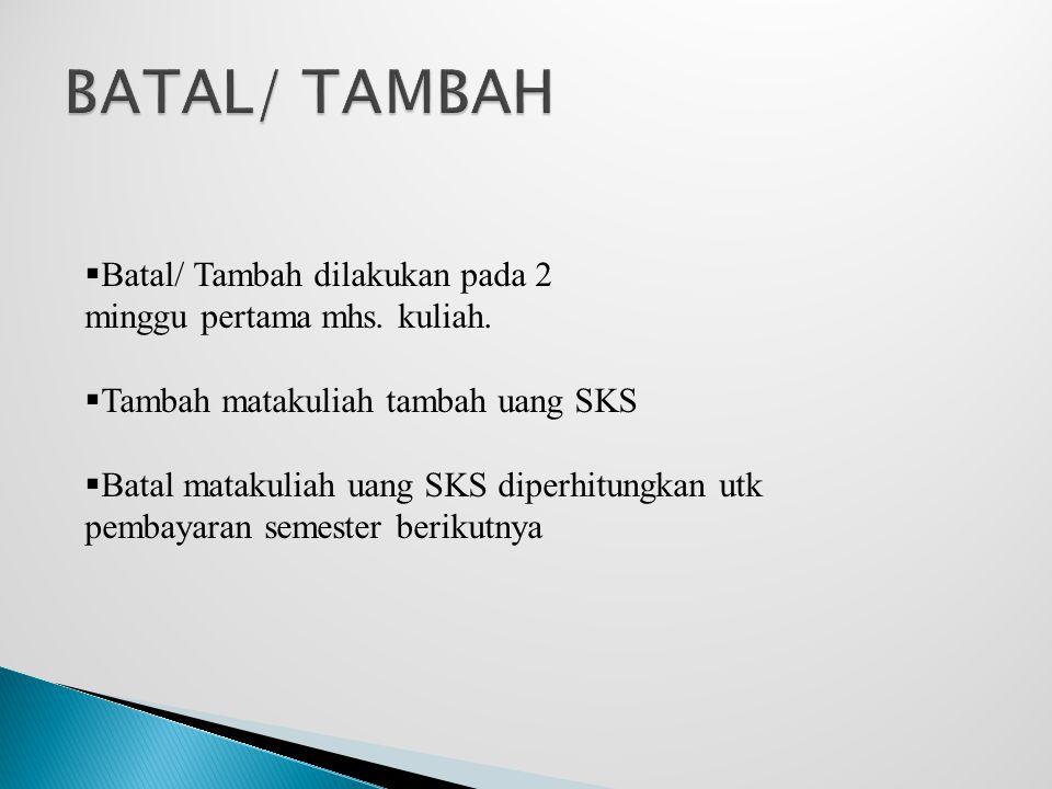 BATAL/ TAMBAH Batal/ Tambah dilakukan pada 2