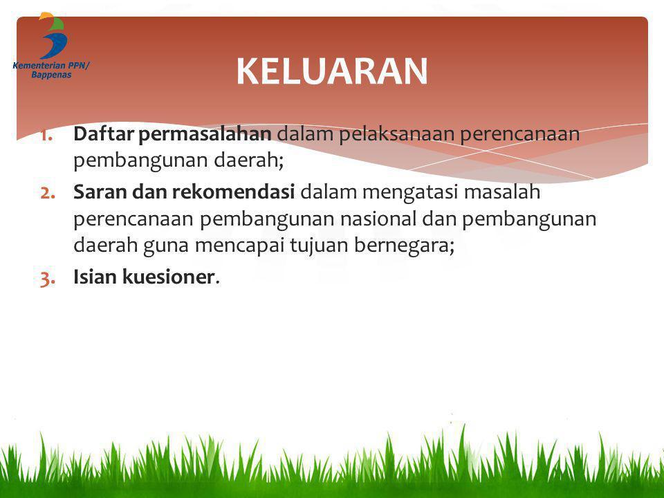 KELUARAN Daftar permasalahan dalam pelaksanaan perencanaan pembangunan daerah;