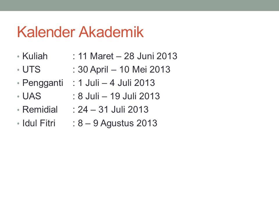 Kalender Akademik Kuliah : 11 Maret – 28 Juni 2013