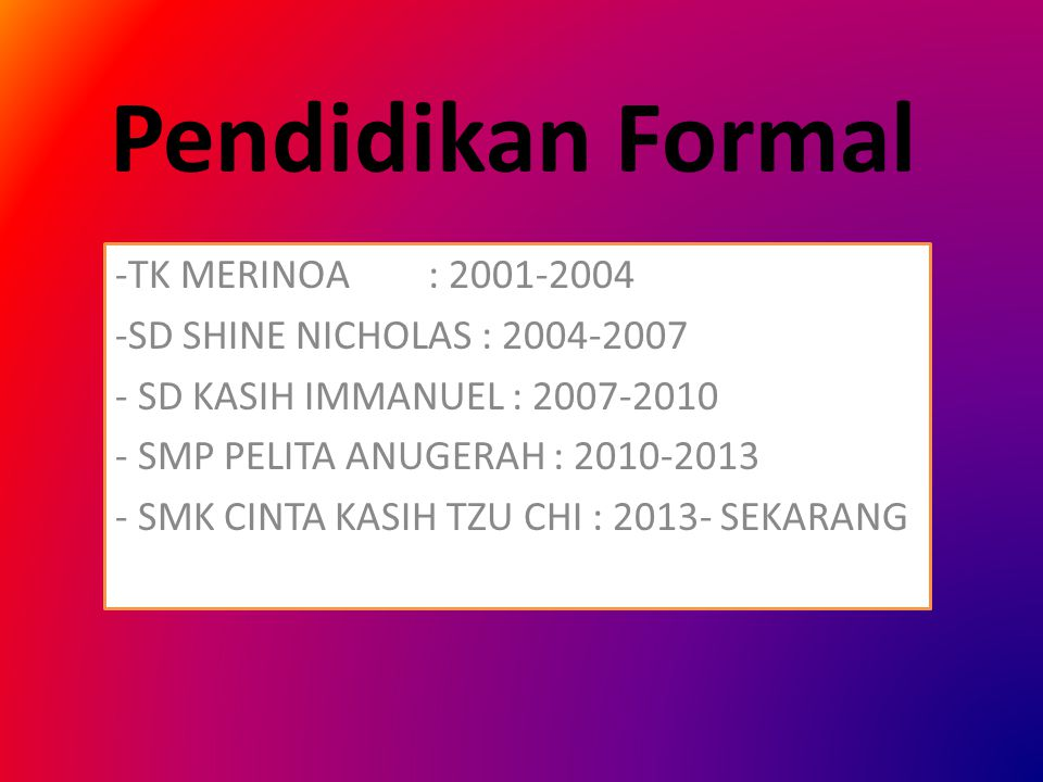 Pendidikan Formal TK MERINOA : 2001-2004 SD SHINE NICHOLAS : 2004-2007