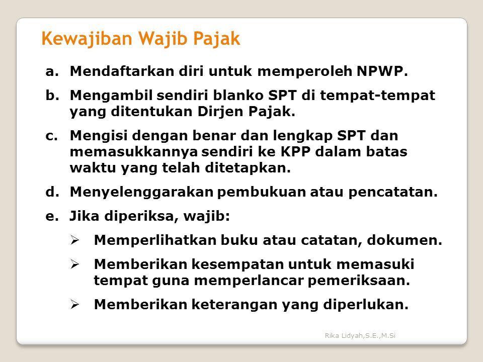 Kewajiban Wajib Pajak Mendaftarkan diri untuk memperoleh NPWP.