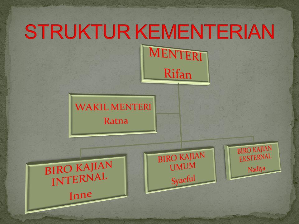 STRUKTUR KEMENTERIAN MENTERI Rifan BIRO KAJIAN INTERNAL Inne