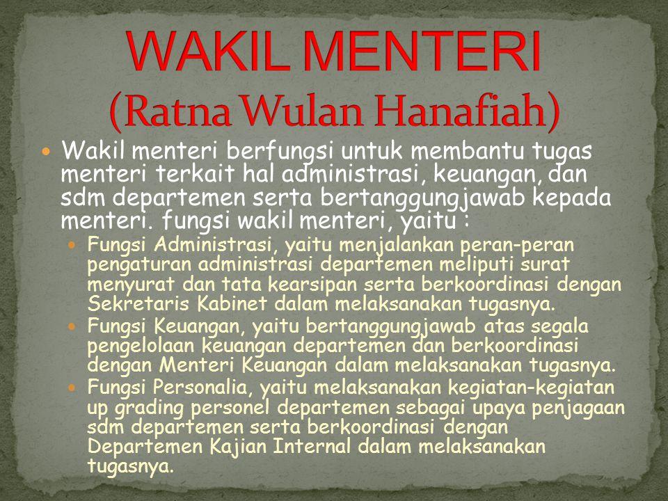 WAKIL MENTERI (Ratna Wulan Hanafiah)