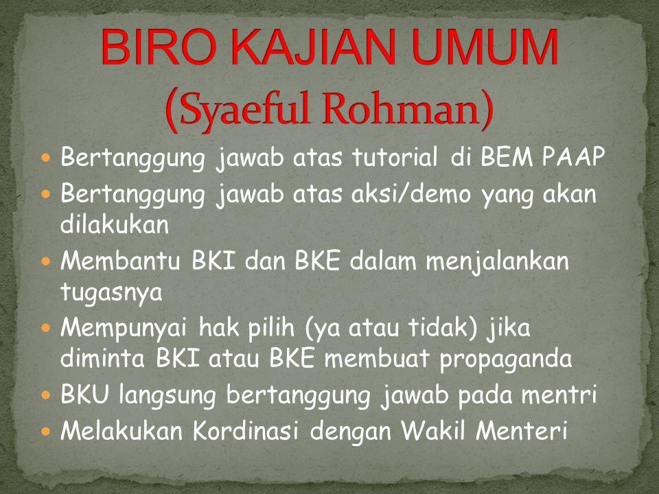BIRO KAJIAN UMUM (Syaeful Rohman)